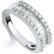 Certificated 1.00ct Diamond Eternity Ring Baguette Cut White Gold Size J - Q