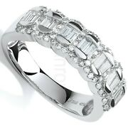 Certificated 0.75ct Diamond Eternity Ring Baguette Cut White Gold Large Size R-z