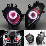 Motorcycle Assembled Headlight White Angel Red Demon Eyes For Bmw S1000rr 09-14