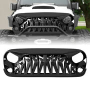 Front Grill Shark Grille Guard For 2007-18 Jeep Wrangler Jk Jku Abs Glossy Black
