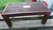 Solid Oak Old Barn Wood Decorative Coffee Table With Winchester Plate Ct144