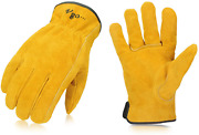 Vgo 3-pairs Unlined Cowhide Split Leather Work And Driver Gloves For Heavy Duty