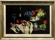 William Martin Splendor Giclee On Canvas Fruits And Wine With Custom Framed Signed