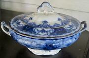 John Maddock Royal Vitreous Dainty Flow Blue 9 Round Covered Vegetable Bowl