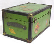 Vintage Doll Trunk 1930s With Travel Stickers Green Metal Wood Shelf