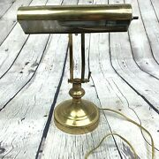 Brass Desk Lamp Student Piano Adjustable Round Base On Off Switch Pull Down Angl