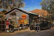 Original Oil Painting Old Car And Building In Jerome Arizona Listed Nr