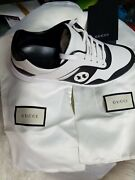 Nwbgucci Womens Gglogo Shoes Sneakers  Leather Black And White Size 7