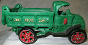Cast Iron Toy Dump Truck Green 7 Long Sand Rocks Coal Working Lever Reproductio