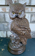 """Vintage Byron Mold B4 Ceramic Great Horned Owl Figurine 12"""" X 5"""" Hand Painted"""