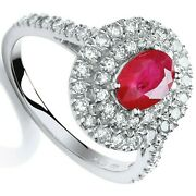 Ruby And Diamond Ring Halo Engagement 18k White Gold Certificate Size J - Q