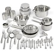 Cookware Sets Stainless Steel 52 Pcs W/ Kitchen Tools Flatware Pots And Pans New