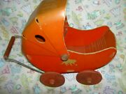 1930s, Fibro Dolly Toy Co Cardboard Kitty Logo Easter Candy Container Doll Buggy