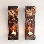 Tealight Candle Holder Metal Wall Sconce Wall Art Hanging Home Decor Set Of 2