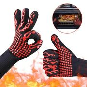 2 Bbq Gloves Heat Resistant Baking Cooking Grilling Oven Gloves Bbq Accessories