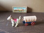 Vintage Japanese Celluloid Wind Up Covered Wagon Horse Cowboy With Box Works