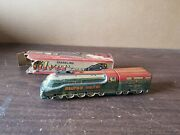 Vintage Marusan Sparkling Silver Train Friction Tin Toy Works With Box