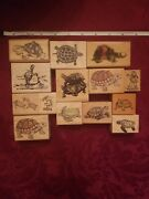 Lot Of 14 Various Types Of Turtles Stamps By Rubber Stampede Psx And More