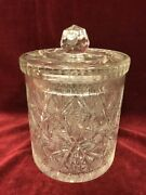 7.5 In. H X 5in. D Heavy Cut Crystal Ice Bucket/cookie Jar/canister With Lid