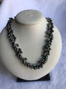 Italy 925 Silver Faux Cultured Pearl Necklace Costume Jewelry 14inch Choker
