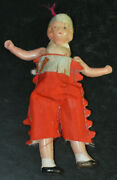 Vintage Celluloid 4 Doll Indian Girl Princess String Jointed Japan