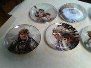 """Set Of 7 Perillo Collector Plates """"america's Indian Heritage 1987 Vague Shadows"""