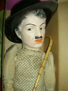Antique Compo. Charlie Chaplin Mannequin Figure Doll With Cane All Orig. As Is