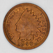 1899 Indian Head Cent Penny 1c Bu Brilliant Uncirculated Rb Red Brown 2558