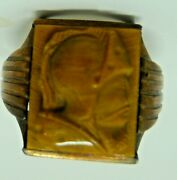 Menand039s 10k Vintage 1940s Gold Class Ring Carved Tiger Eye Trojan Head
