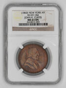 1860 John K Curtis Token New York Ny Ngc Ms 63 Bn Mint State Unc Brown 003