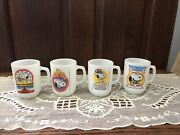 All 4 Fire King Anchor Hocking Snoopy For President Collector's Milk Glass Mugs