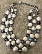 Vintage Alice Caviness 3 Strand Faux Pearl Jeweled Signed Choker Necklace
