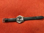 Mens Black And Silver Cat Caterpillar Watch With Box And New Black Leather Strap
