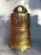 25and039and039 Heavy Brass Copper Carved Dragon Design Bell Statue