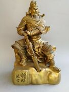 21and039and039 Fine Brass Carved Dragon Chinese Folk War Mars Plutus Guan Gong Statue