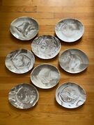 New Set Of 8 - Nambe Butterfly Ll Marble Salad Plates Espresso Brown Oval