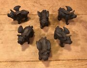 Cast Iron Flying Pig Paperweight 1lb And 3 3/4 Long Set Of 6 0184-10006