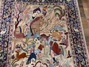 Signed Silk And Wool Handmade 3'6x5'9 Hunting Oriental Authentic Area Rug