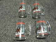Lot 4 Budweiser Clydesdale Beer Mug Holiday Stein Winter Glass Collectible 1989
