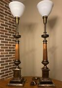 36 Mcm Stiffel Brass And Marble Column Torchiere Table Lamps With Original Shade