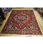 10x13 Hand Knotted Semi-antique Bakhtiari Wool Rug Red B-74579