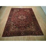 9x11 Authentic Hand Knotted Semi-antique Wool Rug Red B-73147