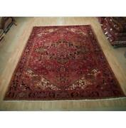 10x12 Authentic Hand Knotted Semi-antique Wool Rug Red B-73196