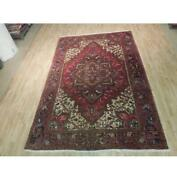 7x11 Authentic Hand Knotted Semi-antique Wool Rug Red B-73876