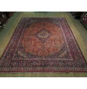 10x12 Authentic Hand Knotted Semi-antique Wool Rug Orange B-73845