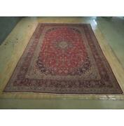 10x14 Authentic Hand Knotted Semi-antique Wool Rug Red B-74434
