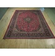 10x13 Authentic Hand Knotted Semi-antique Wool Rug Red B-74435