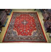 10x13 Authentic Hand Knotted Semi-antique Wool Rug Red B-74690