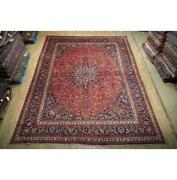 10x13 Authentic Hand Knotted Semi-antique Wool Rug Red B-74813