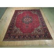 10x13 Authentic Hand Knotted Semi-antique Wool Rug Red B-74447